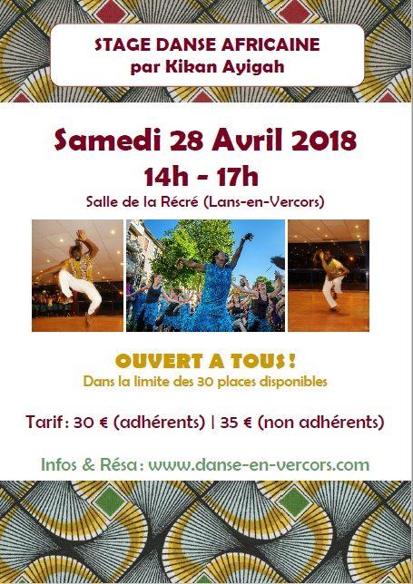 Stage De Danse Africaine – Samedi 28 Avril 2018