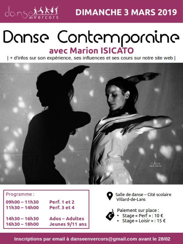 Stage Danse Contemporaine Par Marion ISICATO à Lans-en-Vercors